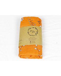 XL Hydrofiel - Oranje met bloemen