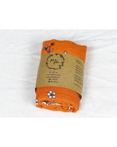 Hydrofiele doek - Oranje met bloemen